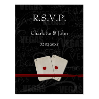 Vegas Wedding rsvp card Postcard