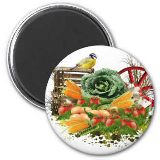 Vegetable and eggs 6 cm round magnet