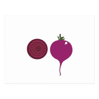 Vegetable design on white postcard