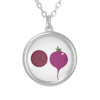 Vegetable design on white silver plated necklace