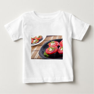 Vegetable dishes of stewed eggplant and fresh red baby T-Shirt