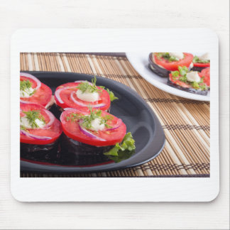Vegetable dishes of stewed eggplant and tomato mouse pad