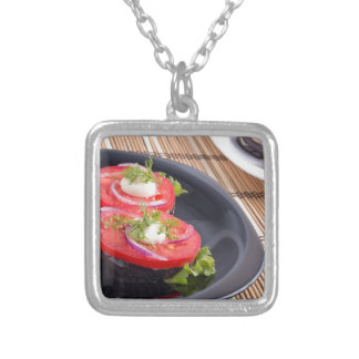 Vegetable dishes of stewed eggplant and tomato silver plated necklace
