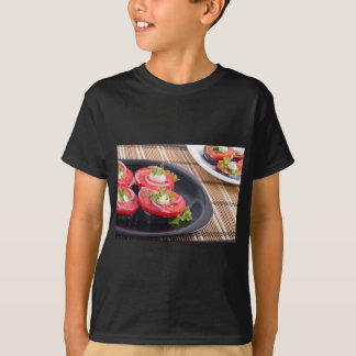 Vegetable dishes of stewed eggplant and tomato T-Shirt