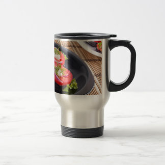 Vegetable dishes of stewed eggplant and tomato travel mug