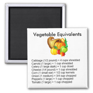 Vegetable Equivalents Square Magnet