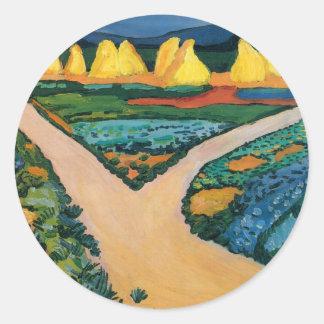 Vegetable Fields by August Macke, Vintage Fine Art Round Stickers