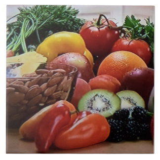 Vegetable Nut and Fruit Ceramic Tile Photo