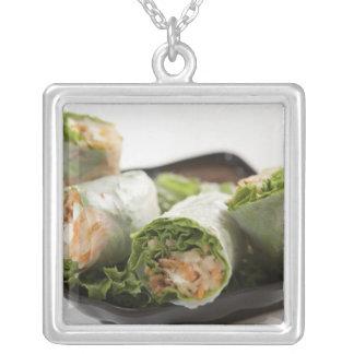 Vegetable Spring Rolls Square Pendant Necklace