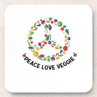Vegetable Veggie Peace Sign  Vegan Coaster
