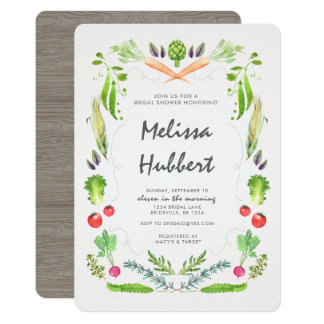 Vegetable Wreath Bridal Shower Invitation