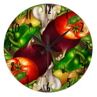 Vegetables and Herbs Organic Natural Fresh Food Large Clock