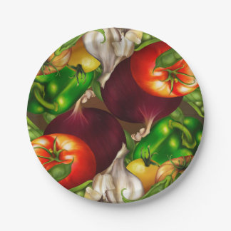 Vegetables and Herbs Organic Natural Veggies Food Paper Plate