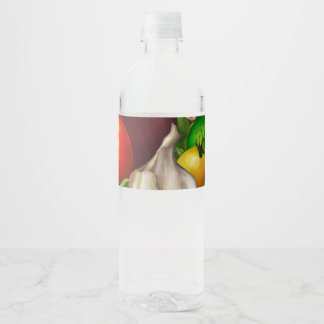 Vegetables and Herbs Organic Natural Veggies Food Water Bottle Label