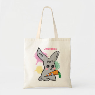 Vegetables  grey cute bunny with carrot bag