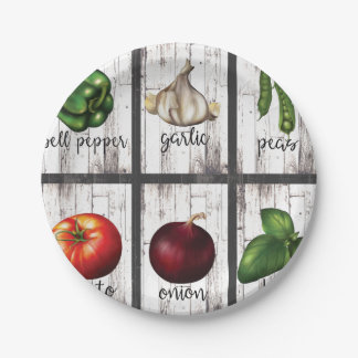 Vegetables & Herbs Rustic Modern Kitchen Food Art Paper Plate
