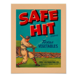 Vegetables Safe Hit Food Vintage Ad Poster