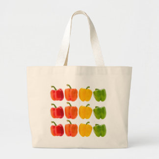 Vegetables Yellow Red & Orange Bell Peppers. Large Tote Bag