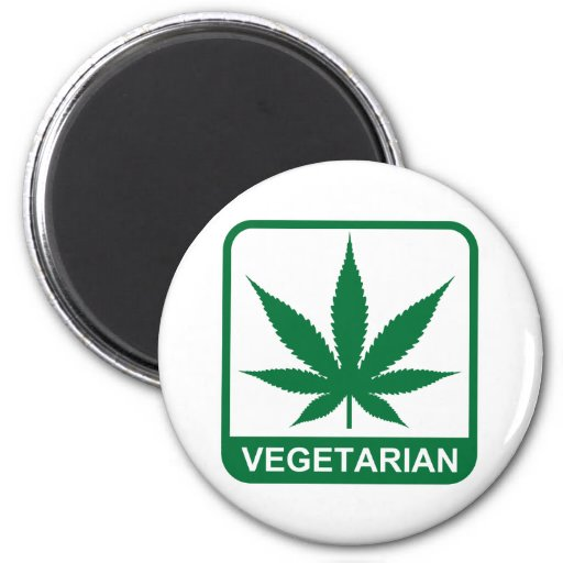 Vegetarian 6 Cm Round Magnet