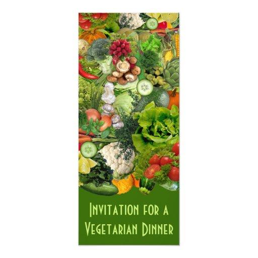 "Vegetarian Dinner 4"" X 9.25"" Invitation Card"
