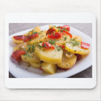 Vegetarian dish of stewed potatoes and bell pepper mouse pad