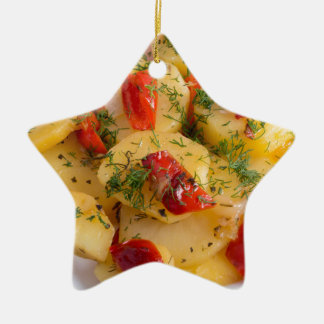 Vegetarian dish with organic vegetables ceramic ornament