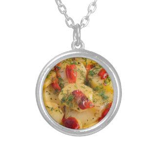 Vegetarian dish with organic vegetables silver plated necklace