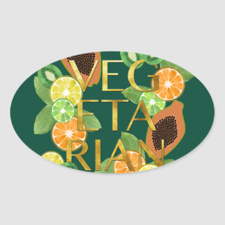 Vegetarian Fruit Oval Sticker