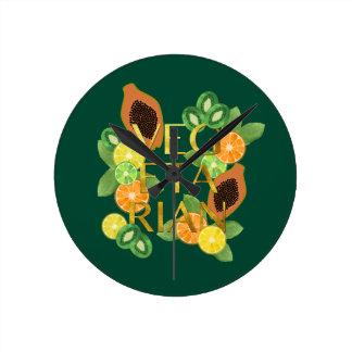Vegetarian Fruit Round Clock