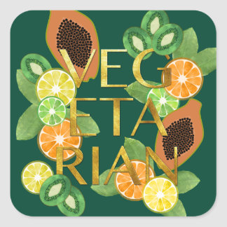 Vegetarian Fruit Square Sticker
