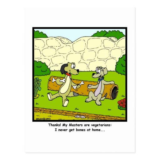 Vegetarian Masters: Dog cartoon Post Cards
