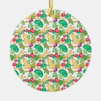 Vegetarian Pattern Round Ceramic Decoration