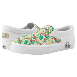 Vegetarian Pattern Slip On Shoes