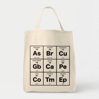 Vegetarian Periodic Table Grocery Tote Bag