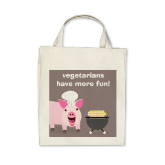 Vegetarian Pig Grocery Bag