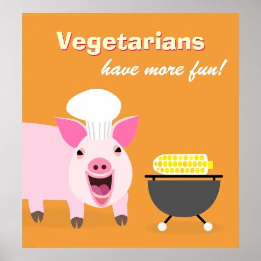 Vegetarian Pig Poster
