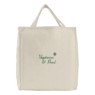 Vegetarian, & Proud Embroidered Tote Bag