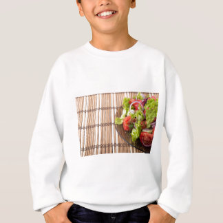 Vegetarian salad from fresh vegetables on a bamboo sweatshirt