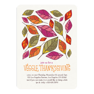 Vegetarian Thanksgiving Leaves Invitation