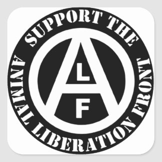 Vegetarian Vegan Support Animal Liberation Front Square Sticker
