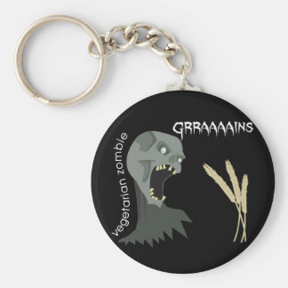 Vegetarian Zombie wants Graaaains! Basic Round Button Key Ring
