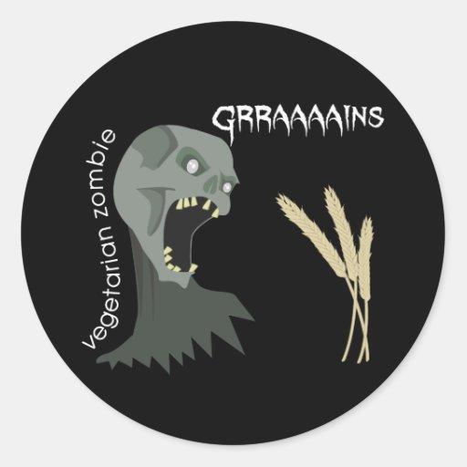 Vegetarian Zombie wants Graaaains! Sticker