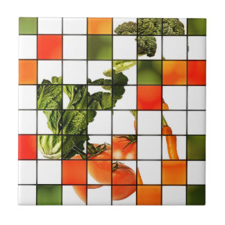 Veggie Mosaic Small Square Tile