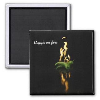 Veggie on fire-square magnet