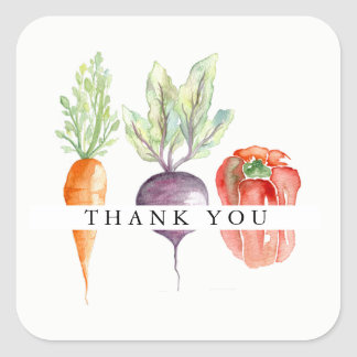 Veggie Patch Watercolor Thank You Square Sticker