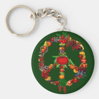 Veggie Peace Sign Basic Round Button Key Ring