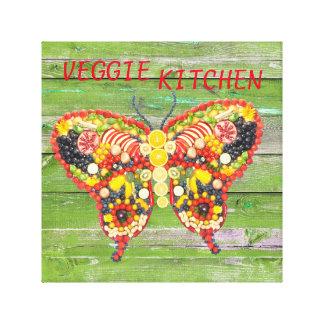 veggieart butterfly green wood canvas print