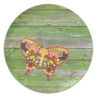VeggieArt Butterfly Green Wood wall Plate