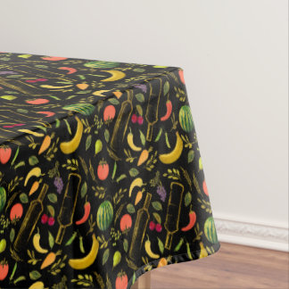 Veggies and Gold Bottles Foodie Hipster Tablecloth