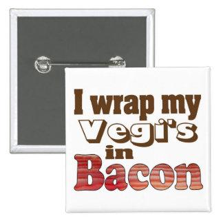 Vegi Wrapped Bacon 15 Cm Square Badge